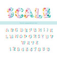 mermaid scale trendy font cute alphabet for vector image vector image