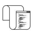 monochrome silhouette of programming window with vector image