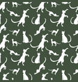 pattern of vintage cats against a dark background vector image vector image