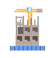 process of construction of a multistory building vector image vector image