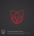 puppy outline symbol red on dark background logo vector image vector image