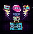 radio with icons of eighties and nineties retro vector image vector image