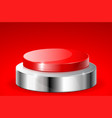 red push button with metal base on red background vector image