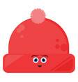 red winter hat on white background vector image vector image