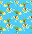 seamless background with palmtrees plumeria vector image vector image