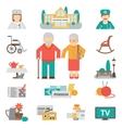 Senior Lifestyle Flat Icons Set vector image vector image