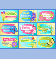 set labels spring discounts advertisement stickers vector image vector image