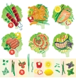 Set of grilled meat and vegetables vector image