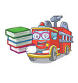 student with book fire truck mascot cartoon vector image
