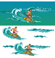 Surfing man on surfboard on sea waves vector image vector image