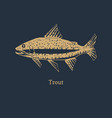 trout in logo for packaging vector image
