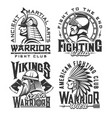 tshirt print with ancient warriors mascots vector image vector image