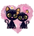 Two Black Kittens vector image vector image