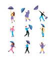 umbrella characters raincoat couples walking vector image vector image