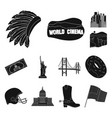 usa country black icons in set collection for