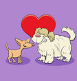 valentine card with funny dog characters in love vector image vector image