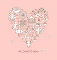 welcome to india concept banner in line style with vector image vector image