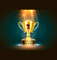 winner cup gold sign object on a dark background vector image