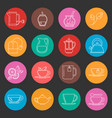 colorful tea thin line icons set vector image