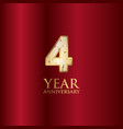 4 year anniversary gold with red background vector image vector image