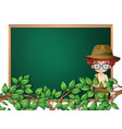 a boy scout on blackboard template vector image vector image