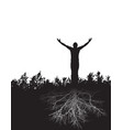 a peaceful figure stands firmly rooted in gratitud vector image vector image