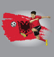 albanian soccer player with flag as a background vector image vector image