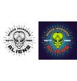alien green head emblem badge two styles vector image vector image