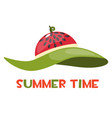 beach hat with a watermelon print and the vector image vector image