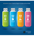 business step and numbers design on thumb drive vector image vector image