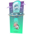 cartoon alien monster in spaceship stealing cow vector image vector image