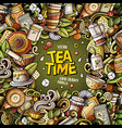 cartoon doodles tea time frame vector image vector image