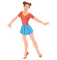 Cartoon young woman in mini blue skirt and stick vector image vector image