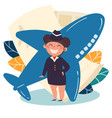 children profession stewardess flight attendant vector image