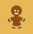 christmas cartoon icon - gingerbread man vector image vector image