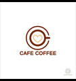 coffee logo cup glass with coffee foam in the vector image vector image