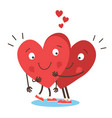 couple in love concept two cute hearts hugging vector image vector image