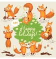 Cute background with foxes in vector image
