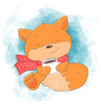 cute cartoon fox with a cup vector image