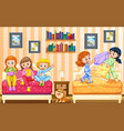 five girls playing in bedroom vector image vector image