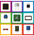 flat icon device set of mainframe receptacle vector image vector image