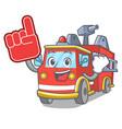 foam finger fire truck mascot cartoon vector image vector image