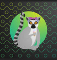 funny lemur sit with ice crean on colorful vector image vector image