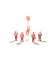 hand drawn person flying up with balloon vector image vector image