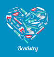 heart with dentistry icon for dental health design vector image
