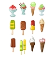 Ice cream cones sundae desserts and popsicles vector image