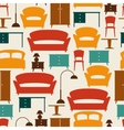 Interior seamless pattern with furniture in retro vector image vector image