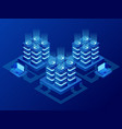 isometric database network management big data vector image