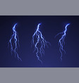 lightning thunderstorm on dark background blue vector image vector image