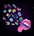 lips pop art with set icons vector image